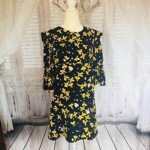 Dark Navy and Yellow Zara Floral Dress -M